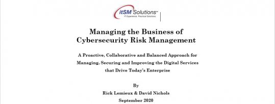 Managing the Business of Cybersecurity Risk Management